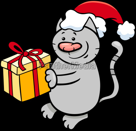 cat with christmas present cartoon