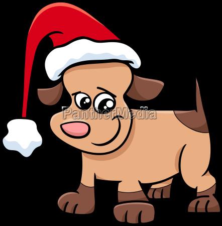 puppy on christmas cartoon