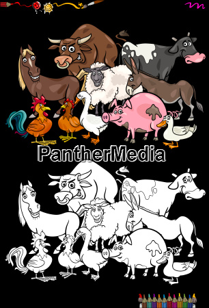 farm animal characters coloring book
