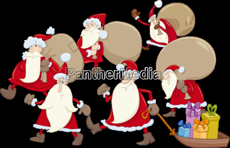 santa claus group cartoon