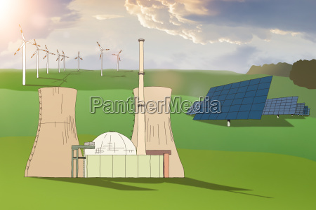 electricity generation nuclear power plant wind