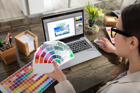 business woman making color selection for