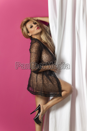 woman in a negligee isolated