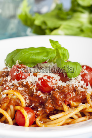 portion of spaghetti bolognese on a
