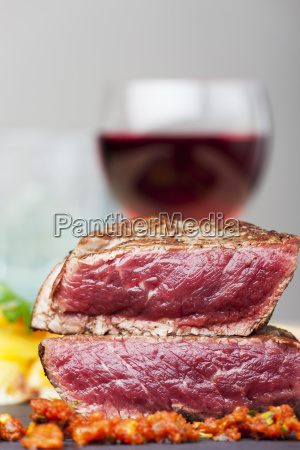 steak with red wine