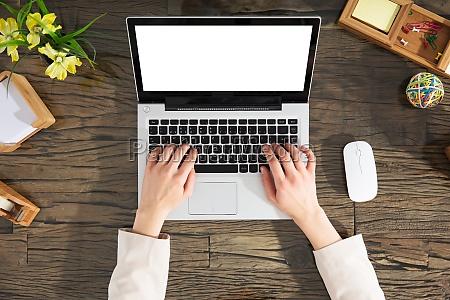 female, hands, typing, on, laptop, keypad - 22643563