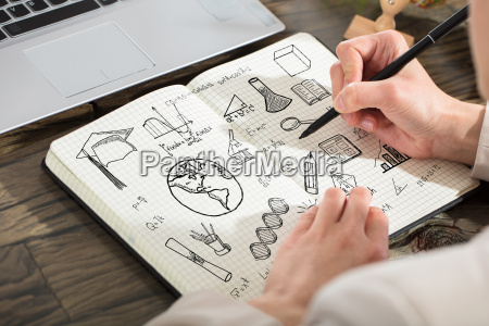 person, drawing, educational, elements, in, notebook - 22643649