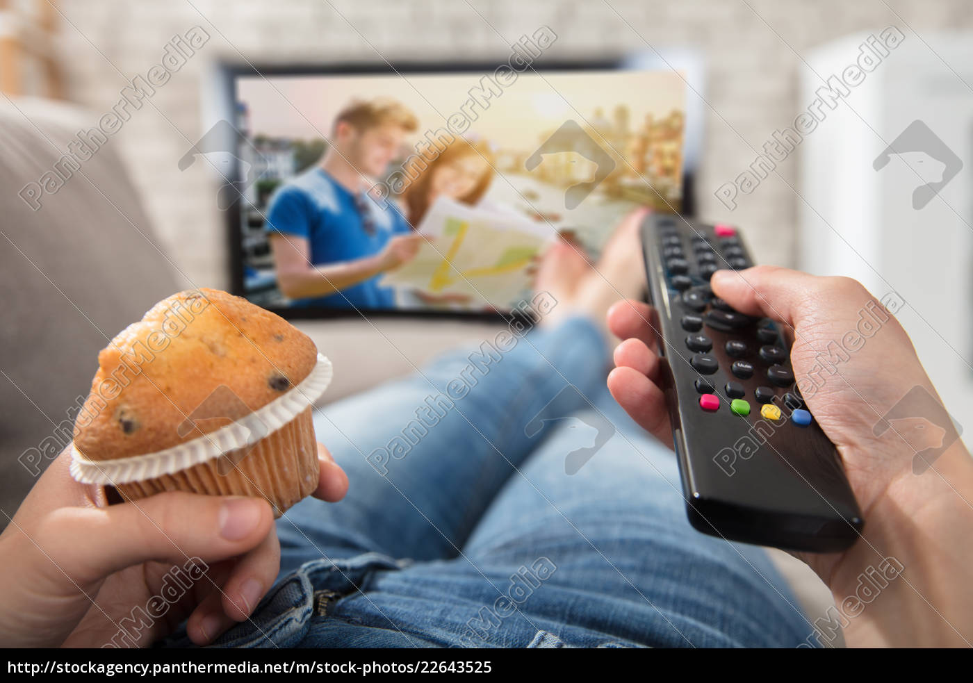 woman, holding, cupcake, and, remote, control - 22643525