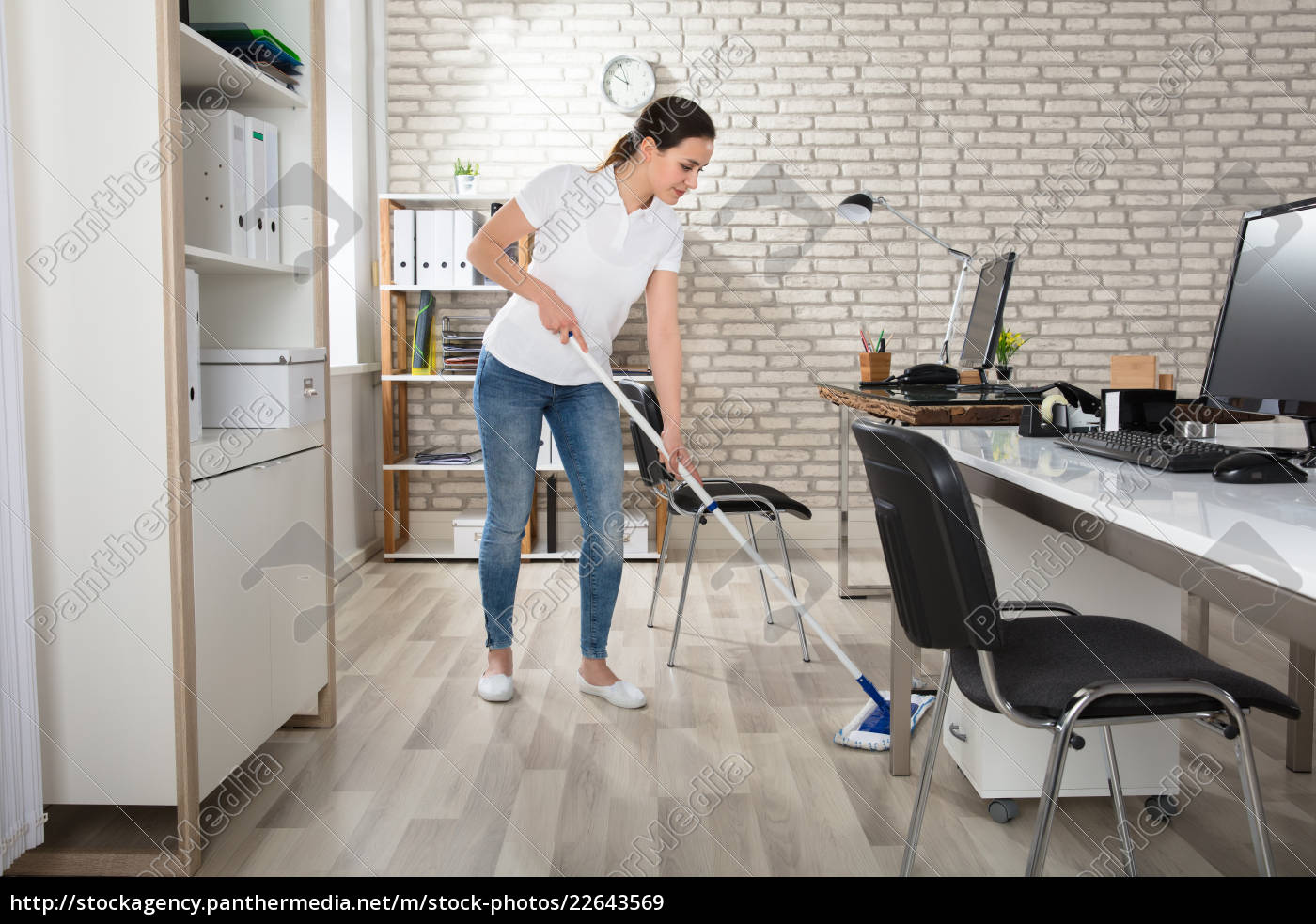 young, woman, cleaning, the, floor - 22643569