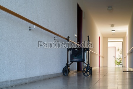 hallway with a rollator in a