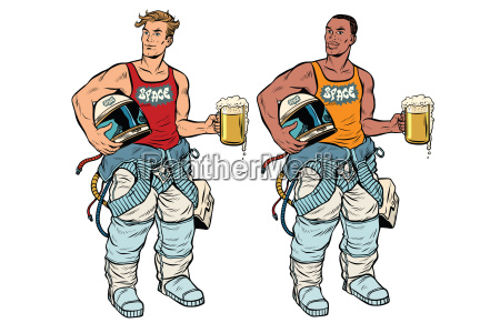 african and caucasian cosmonaut with a