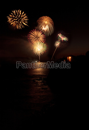 colorful explosion of fireworks over the