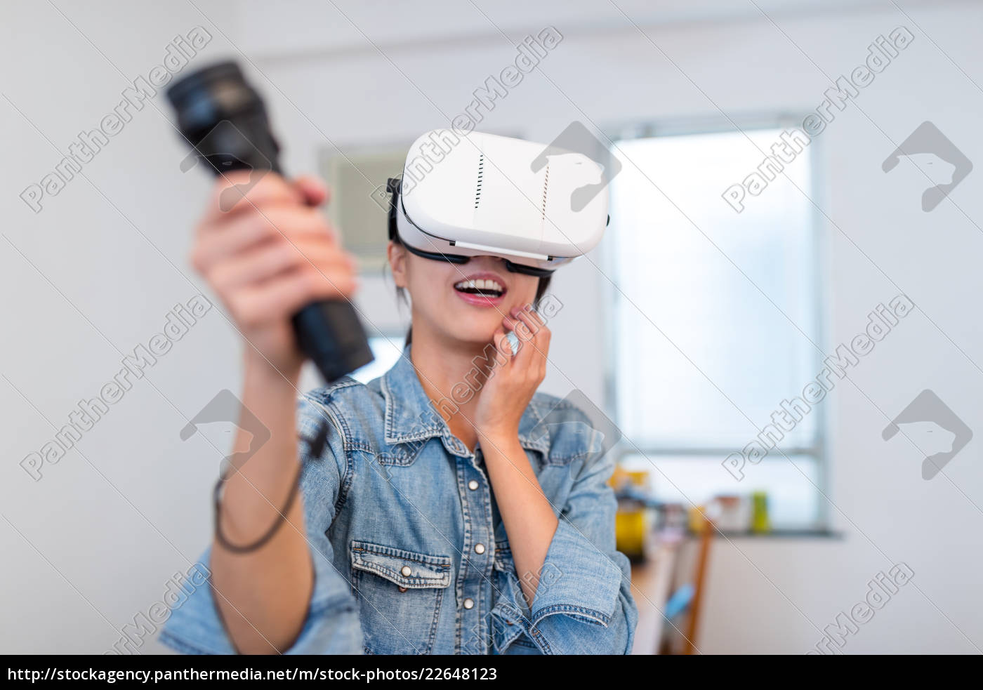 woman, play, game, with, virtual, reality - 22648123