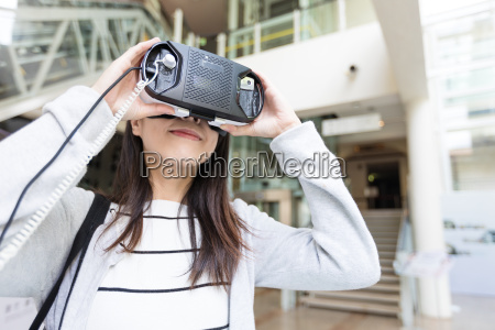 woman, watching, with, vr - 22648195