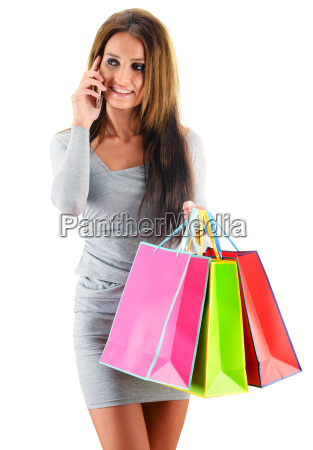 young, woman, with, shopping, bags, isolated - 22652039