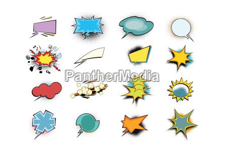 set of colored comic book bubbles