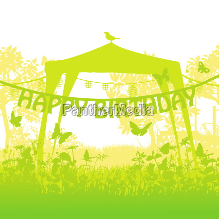 pavilion and party with birthday lettering