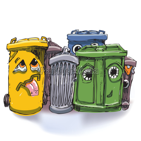 six garbage cans