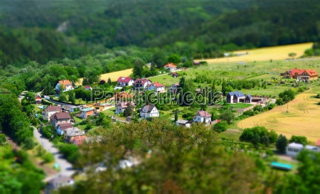 village tilt shift effect