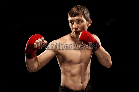male, boxer, boxing, in, punching, bag - 22657761