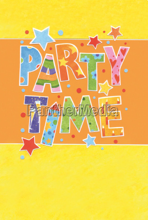 invitation card party in colored letters