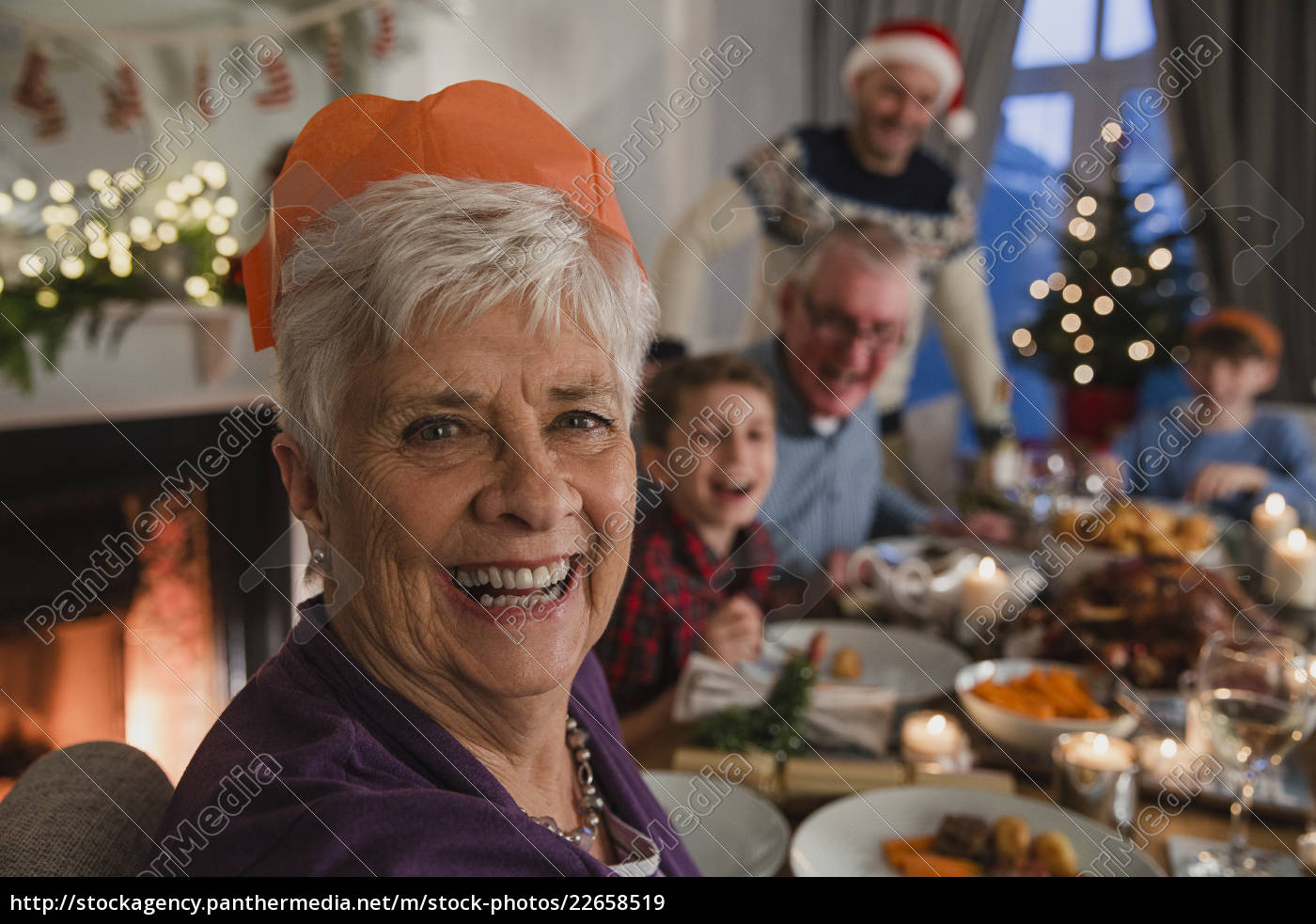 happy, grandmother, at, christmas, dinner - 22658519