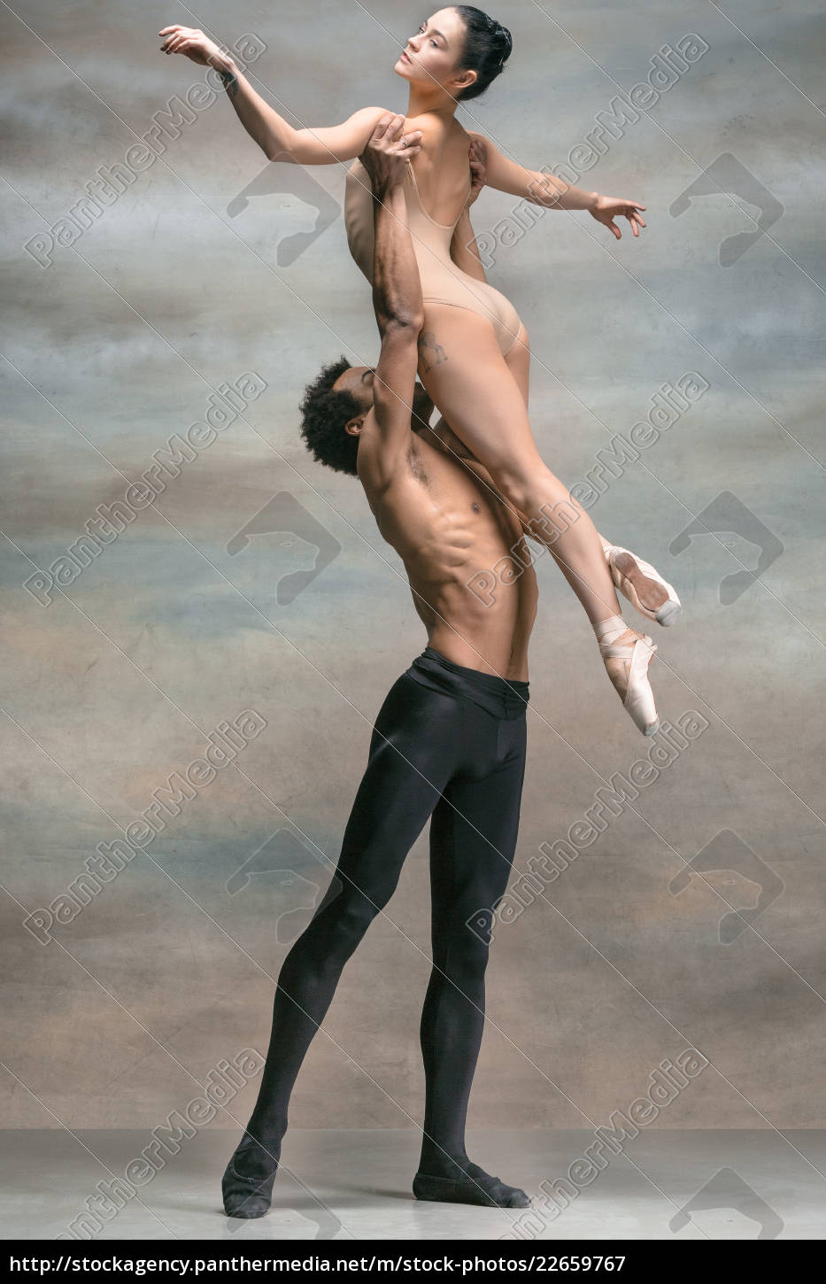 couple, of, ballet, dancers, posing, over - 22659767