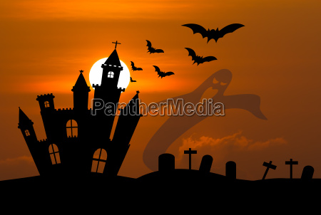 castle in halloween night