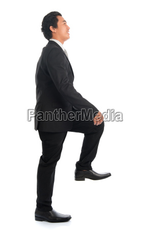 asian, businessman, stepping, up, stair, case - 22665329