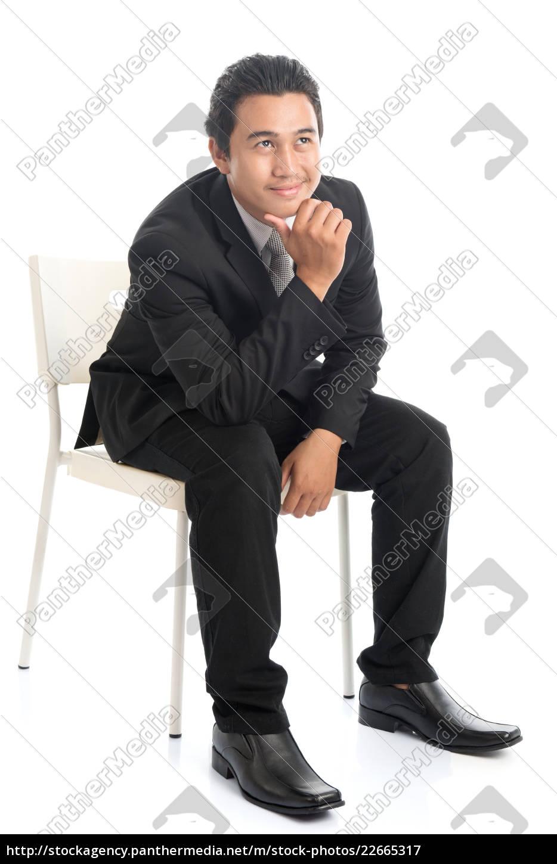 full, body, asian, businessman, sitting, on - 22665317
