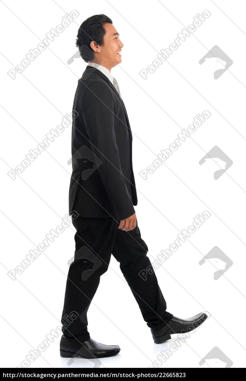 side, view, asian, businessman, walking - 22665823