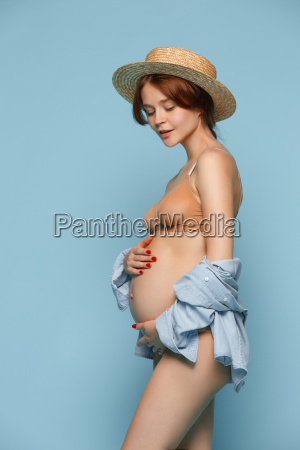 young, beautiful, pregnant, woman, standing, on - 22666193
