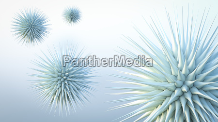 floating spiky spheres 3d rendering