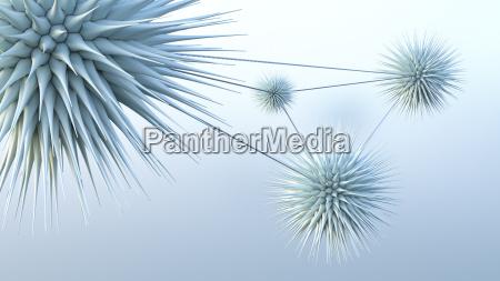 connected spiky spheres 3d rendering