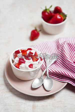 dessert with fresh strawberries and whipped