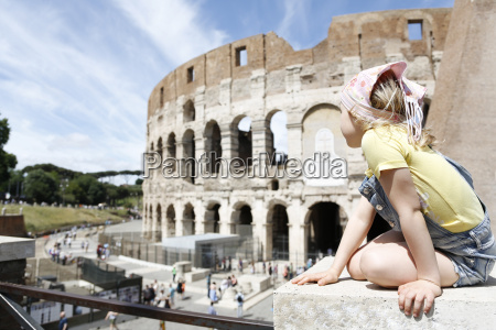 italy rome girl looking at colosseum