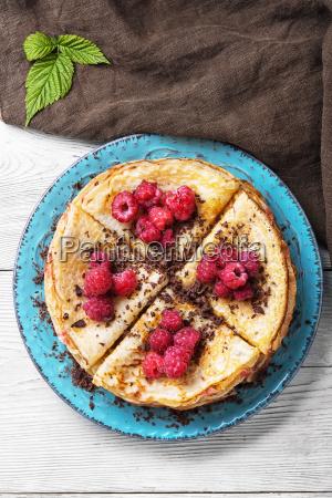 rural pancakes with fresh raspberries