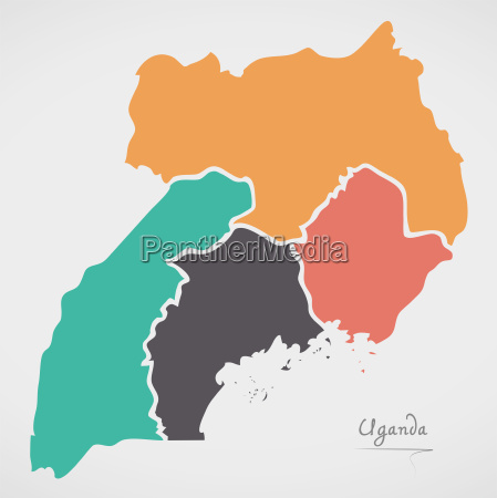 uganda map with states and modern