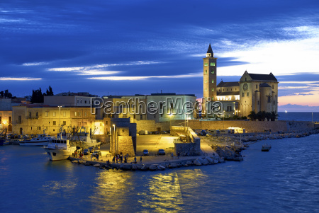 the cathedral of trani at sunset