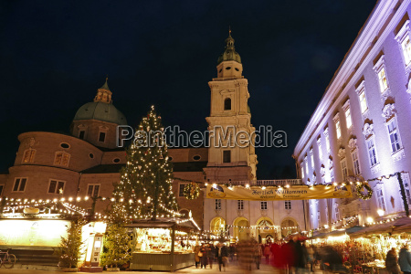 salzburg cathedral and chrismas market at
