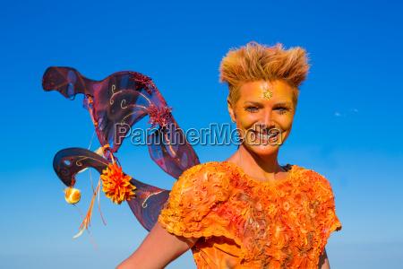 orange fire fairy portrait