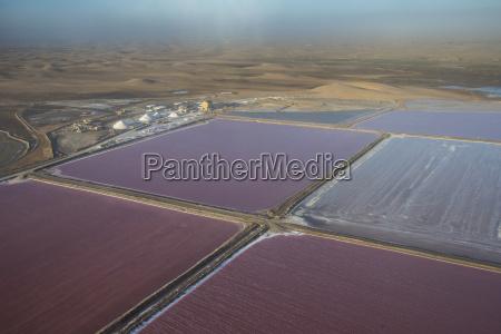 aerial of salt pans on the