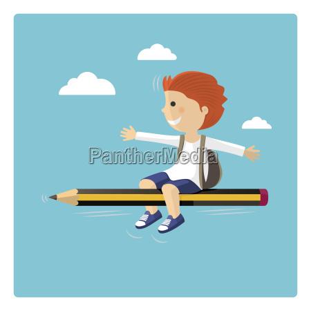 boy flying in a pencil through