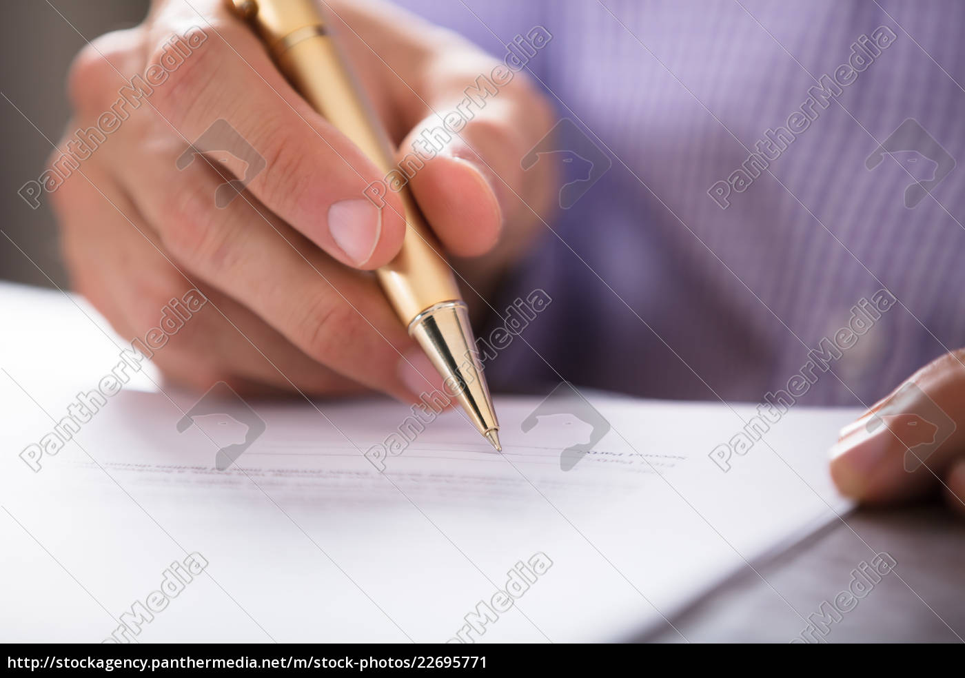 businessperson's, hand, signing, document, with, pen - 22695771
