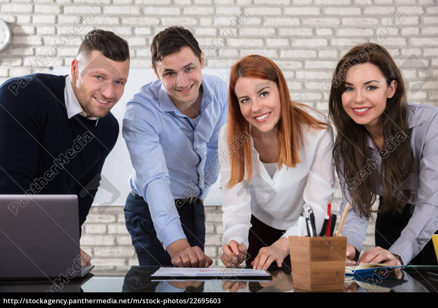 happy, business, people, doing, work, at - 22695603