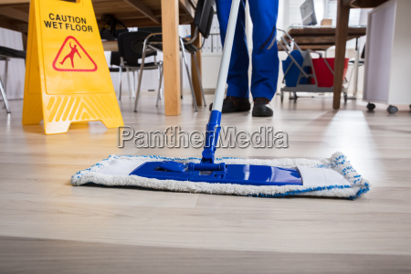 janitor, cleaning, floor, in, office - 22695729