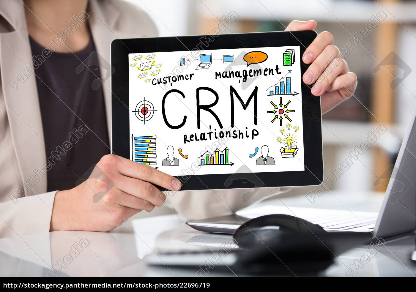 businesswoman, showing, customer, relationship, management, concept - 22696719