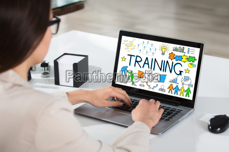 businesswoman, using, laptop, showing, training, concept - 22696721