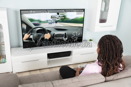 girl, playing, video, racing, car, game - 22696095