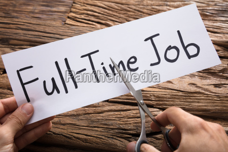 hands, cutting, full-time, job, words, on - 22696675